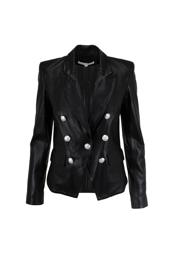 Veronica Beard Cooke Black Leather Double-Breasted Blazer