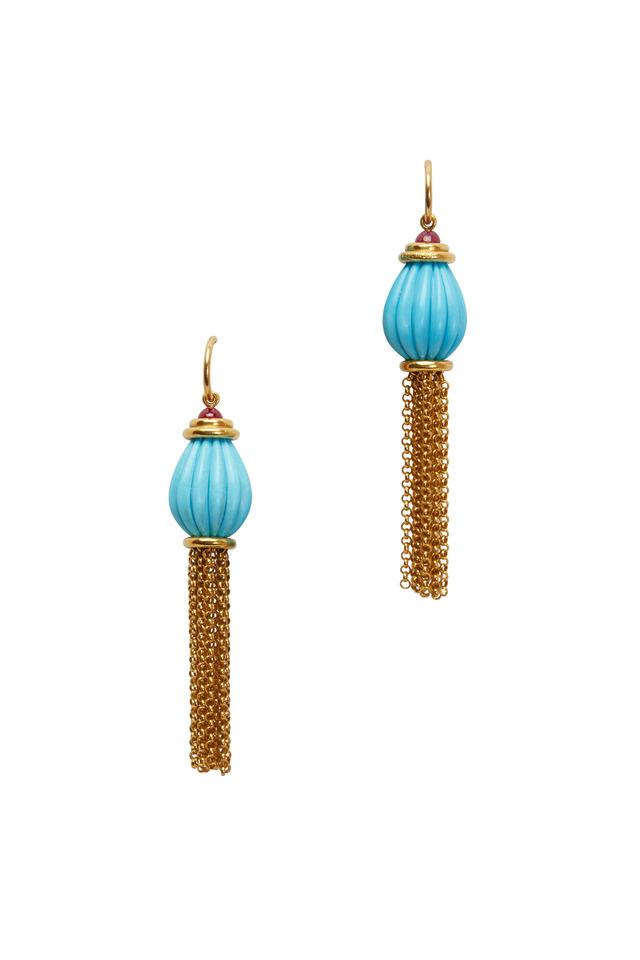 Shanghai Gold Turquoise & Ruby Drop Earrings