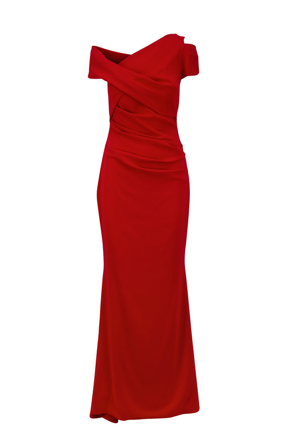 Talbot Runhof Moa5 Red One-Shoulder Stretch Crepe Gown