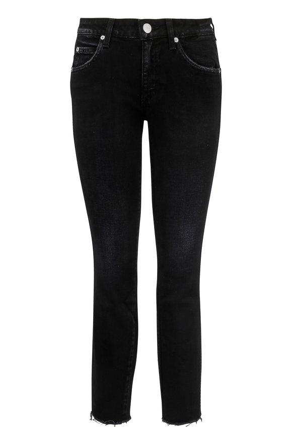 Amo Stix Black Mid-Rise Crop Jean