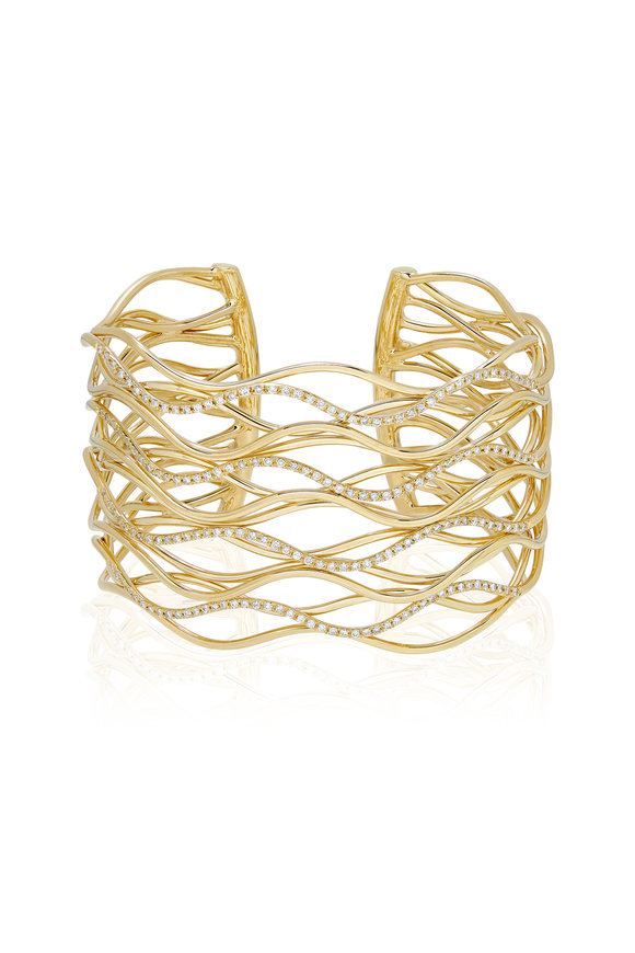 Alberto Milani Castello 18K Yellow Gold Diamond Bangle