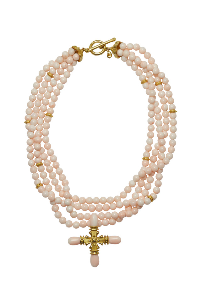 Pink Coral & Gold Cross Necklace