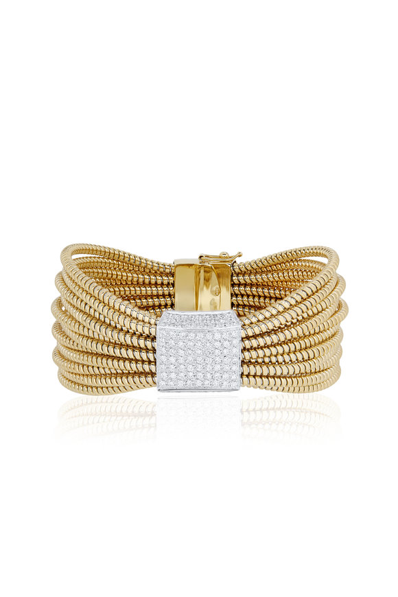 Alberto Milani Mercanti 18K Yellow Gold Diamond Bangle