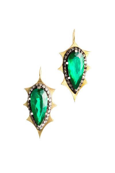 Sylva & Cie - 18K Gold & Silver Beryl & Diamond Spike Earrings