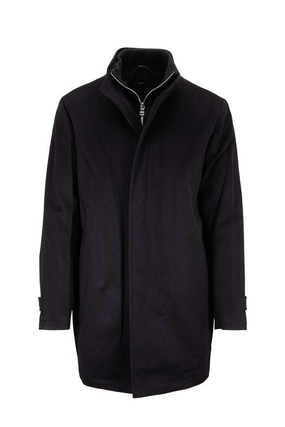 Peter Millar Horizon Black Wool Car Coat