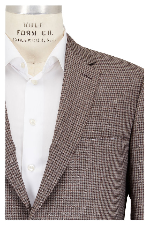 Brioni Tan & Brown Check Wool Sportcoat