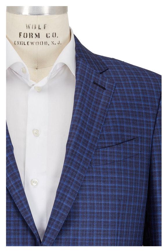 Ermenegildo Zegna Navy Blue Tonal Plaid Wool Sportcoat