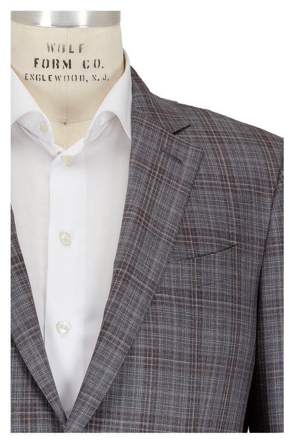 Ermenegildo Zegna Gray & Brown Plaid Wool, Silk & Linen Sportcoat