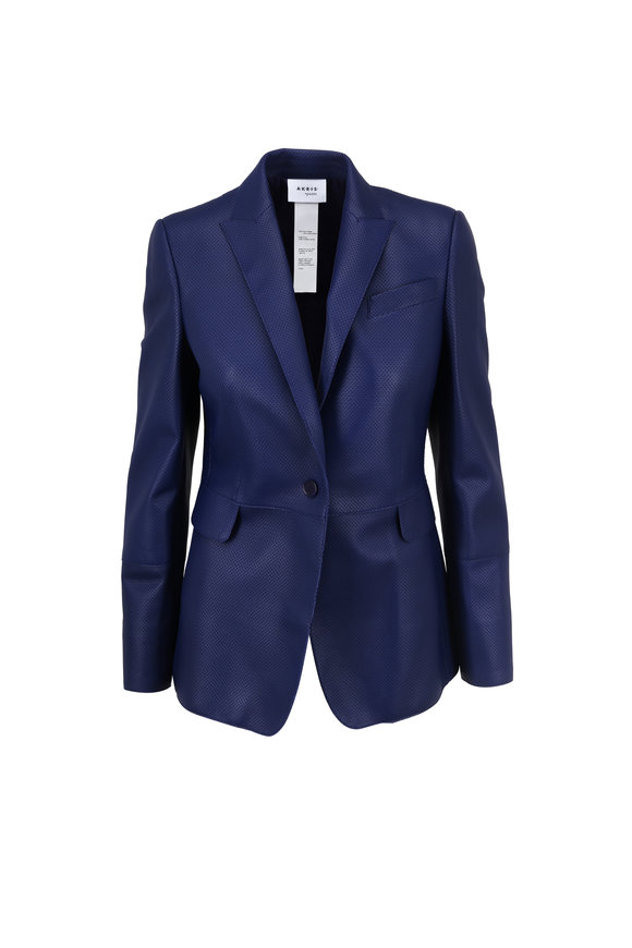 Akris Punto Blueberry Perforated Leather Blazer