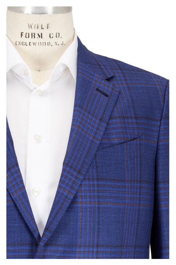 Ermenegildo Zegna Blue & Brown Plaid Wool, Silk & Linen Sportcoat