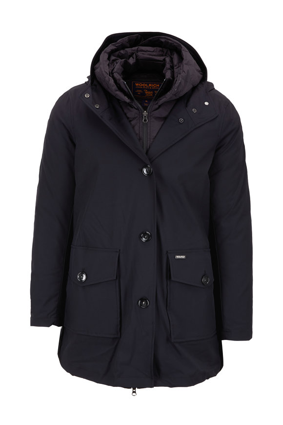 Woolrich Black 3-In-1 Back Inverted Pleat Parka