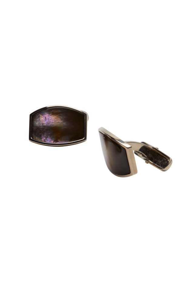 White Gold Tahitian Black Pearl Cuff Links