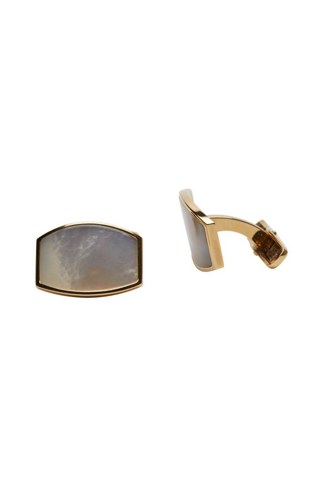 Yellow Gold Mother Of Pearl Cuff Links