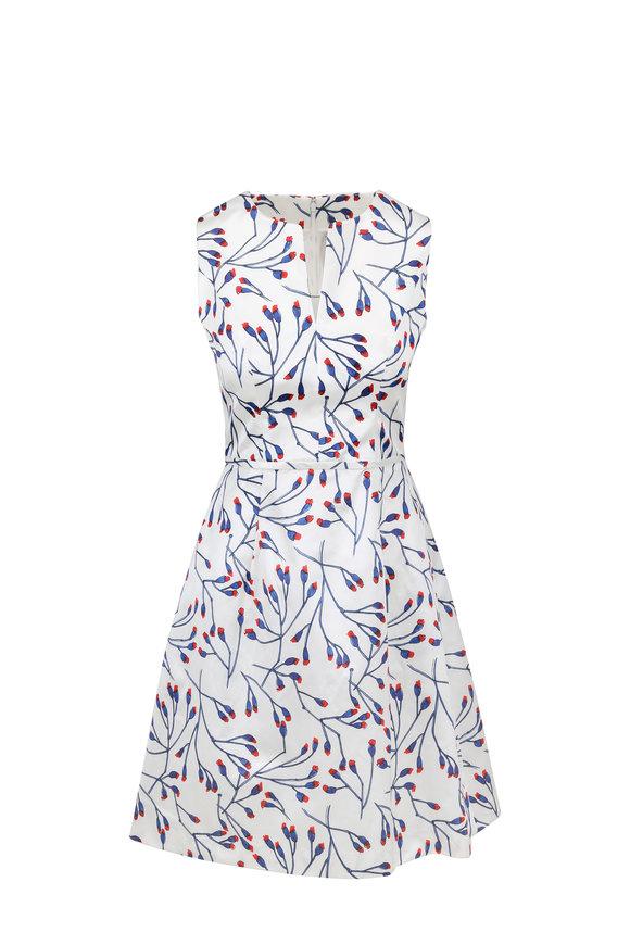 Carolina Herrera Ivory Floral Print Fit & Flare Dress