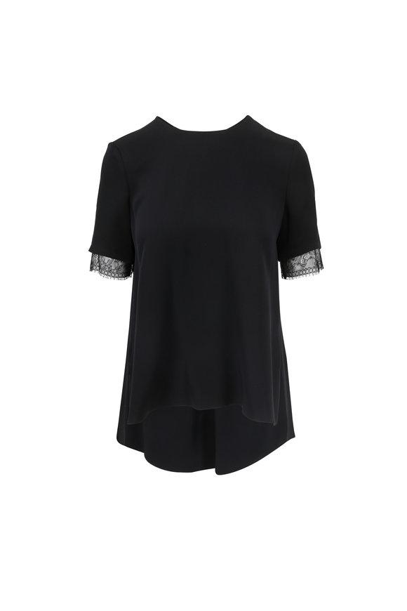Adam Lippes Black Silk Short Sleeve Top