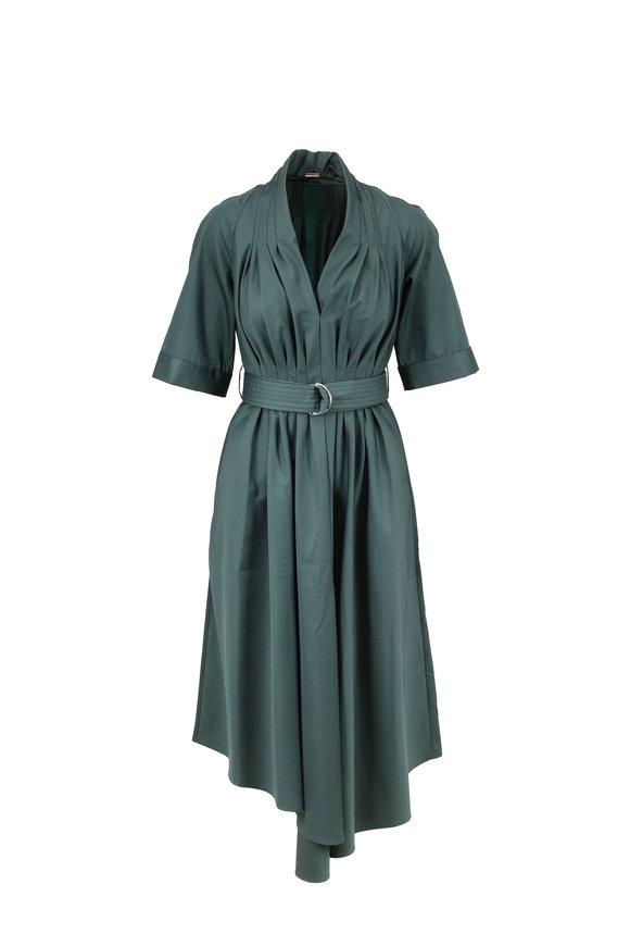 Adam Lippes Sage Cotton Poplin Cuffed Sleeve Belted Dress
