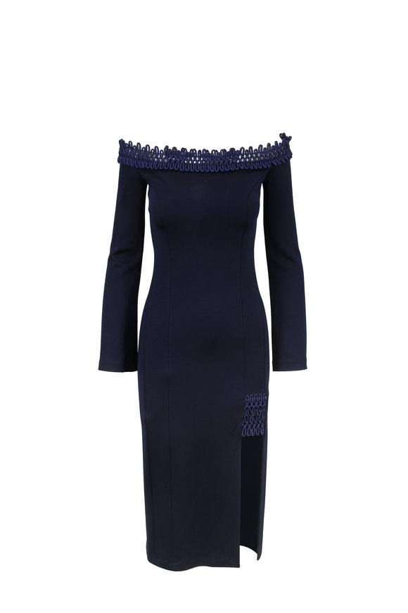 Galvan Aguafina Midnight Off-The-Shoulder Knit Dress