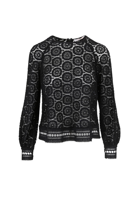 See by Chloé Black Cotton Lace Top