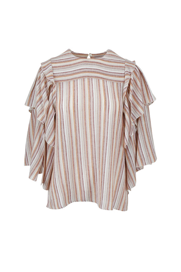 See by Chloé Peach Striped Ruffled Peasant Top