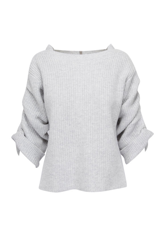 Brochu Walker Reva Grey Ribbed Boatneck Ruched Sleeve Sweater
