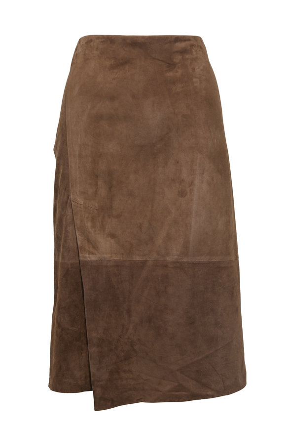Vince Dark Taupe Suede Skirt