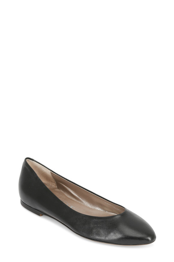 AGL Black Leather Classic Ballet Flat