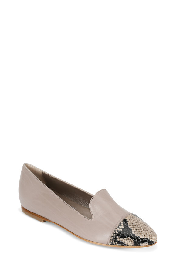 AGL Nude Leather & Snake Skin Cap-Toe Smoking Loafer