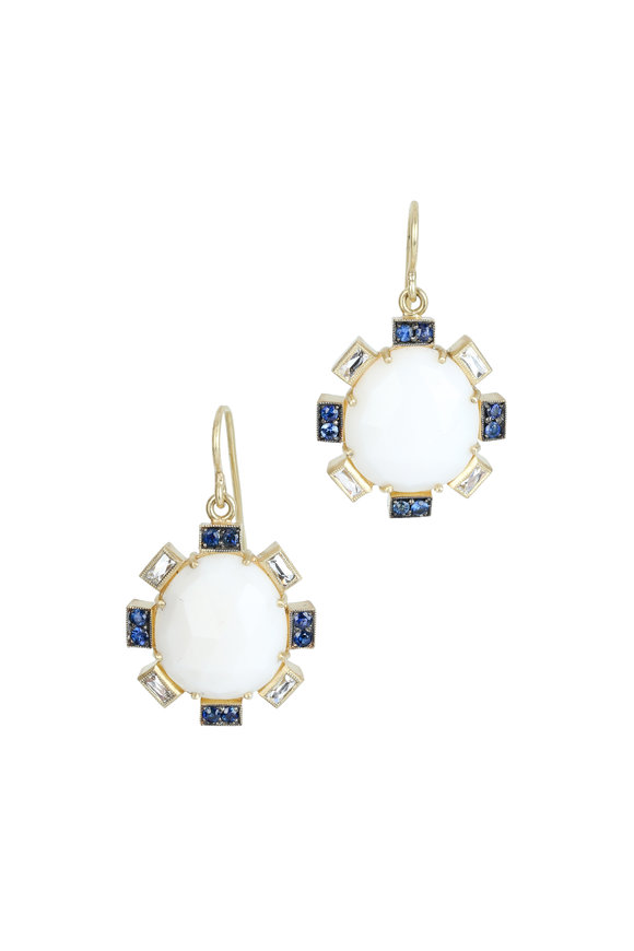 Sylva & Cie 18K Gold White Opal & Sapphire Petal Earrings