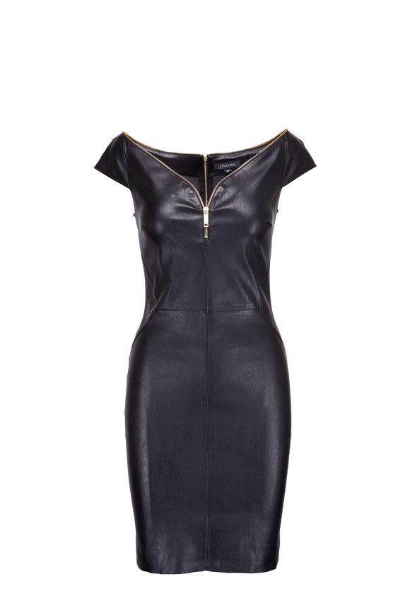 Jitrois Diva Black Cap Sleeve Leather Dress