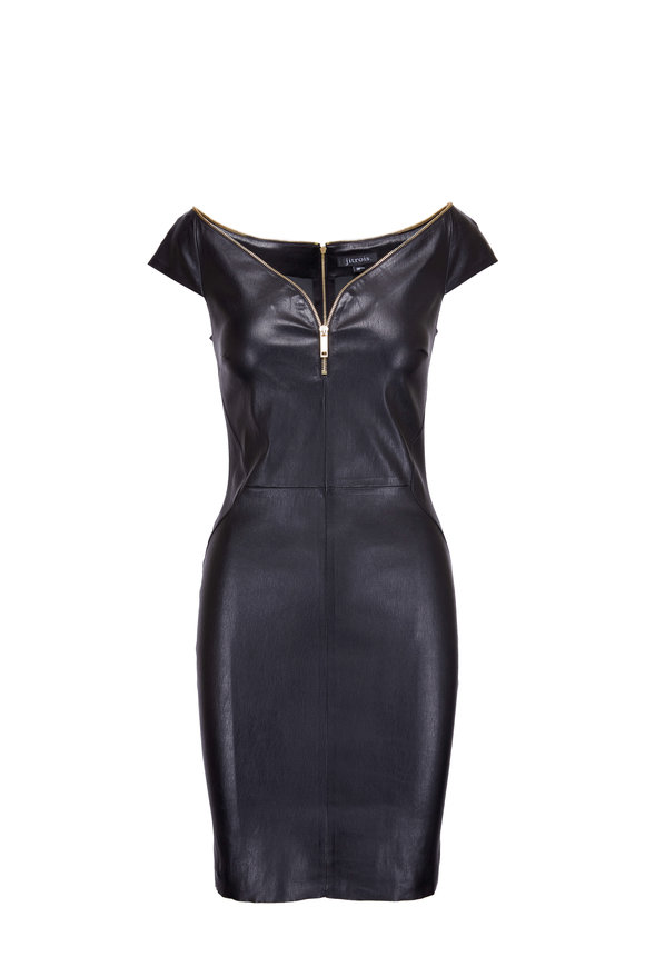 Jitrois Diva Black Cap Sleeve Leather Dress