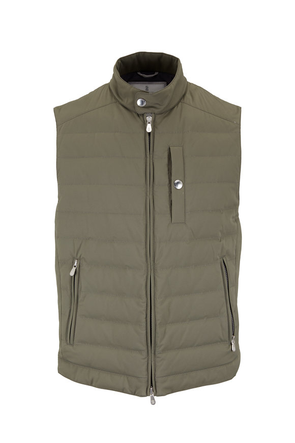 Brunello Cucinelli Olive Green Quilted Puffer Vest