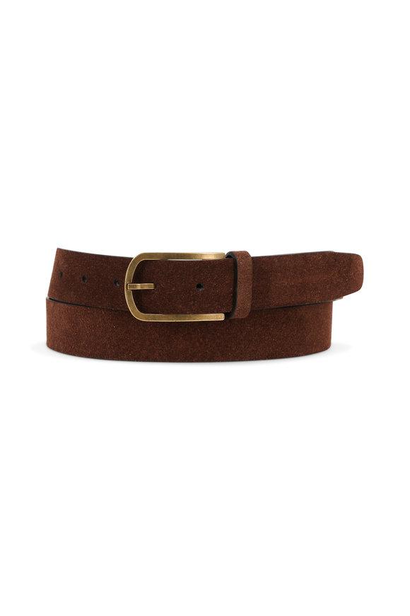 Brunello Cucinelli Dark Brown Suede Belt