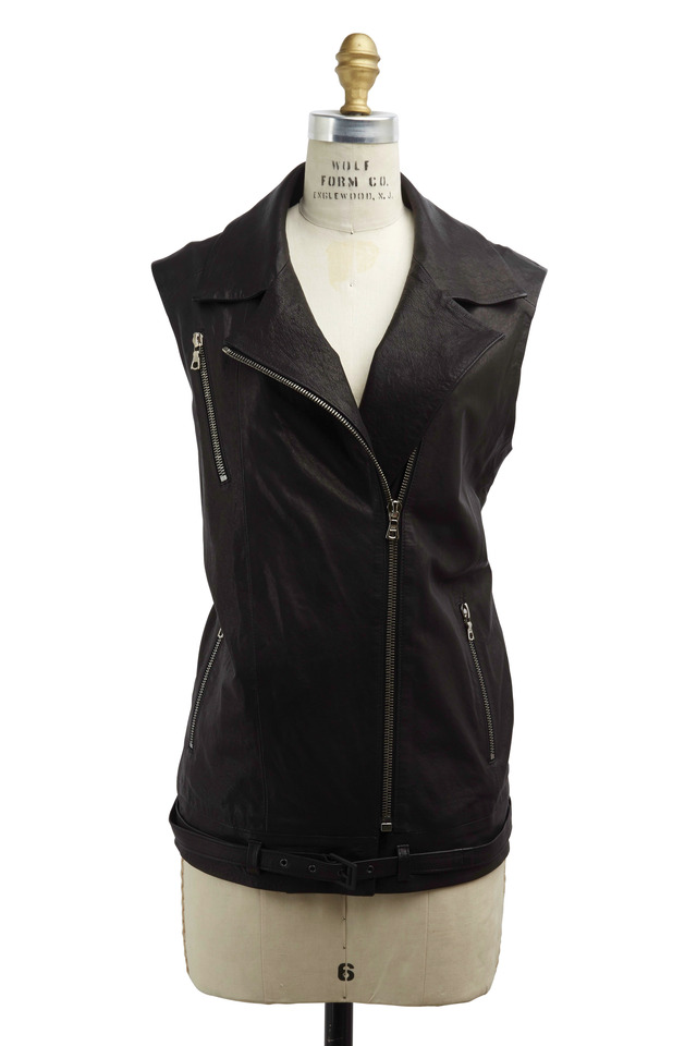 Hubbard Black Leather Oversized Vest