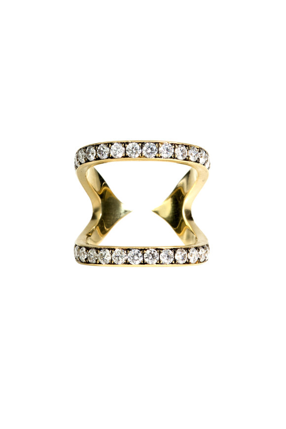 Sylva & Cie 18K Yellow Gold Diamond Double Rail Ring
