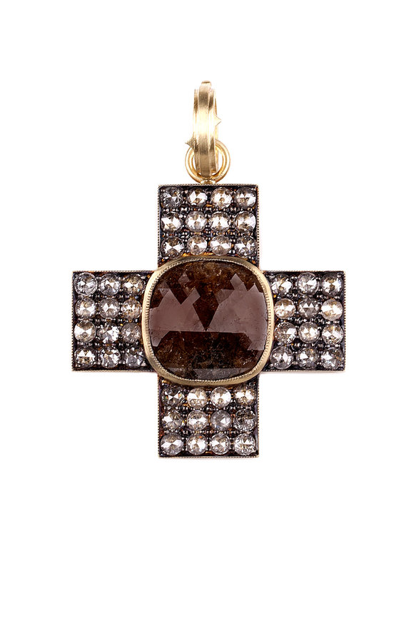 Sylva & Cie 18K Gold & Diamond Box Cross Pendant