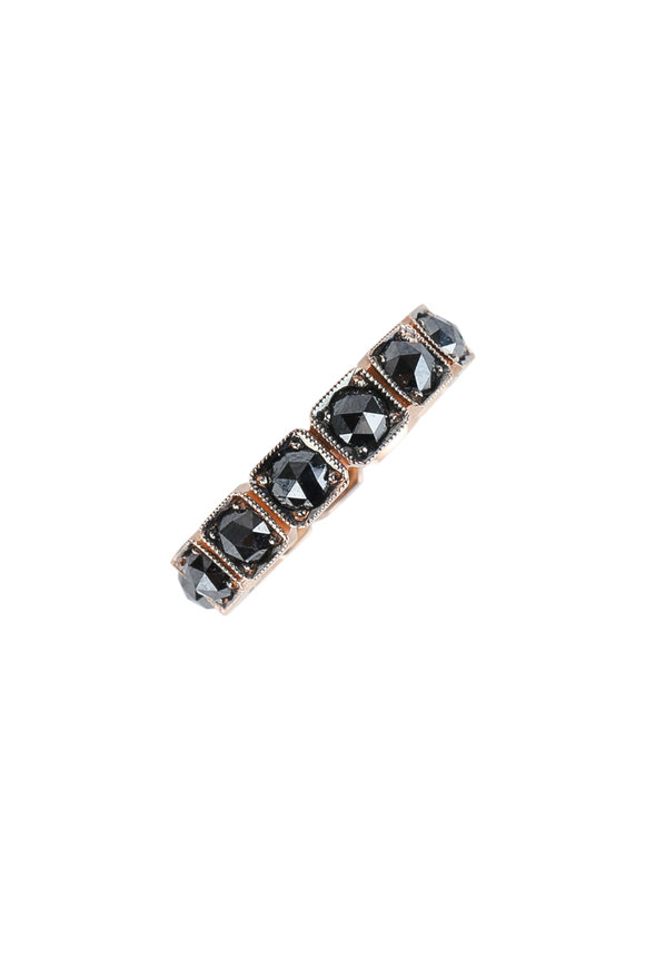Sylva & Cie 14K Rose Gold Black Diamond Square Band