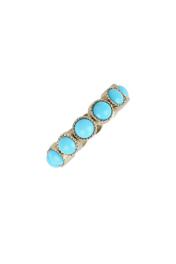Sylva & Cie Yellow Gold Turquoise Band