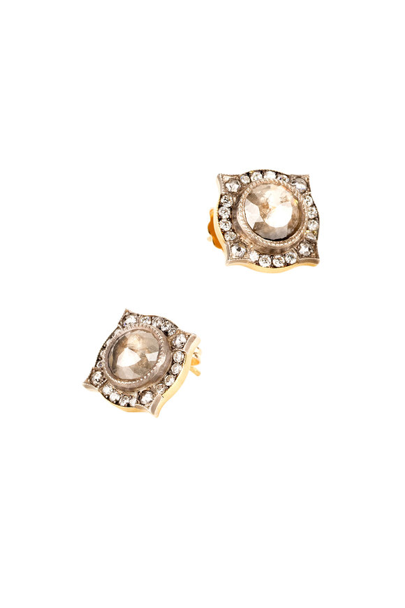 Sylva & Cie 18K Yellow Gold & Silver Rough Diamond Studs