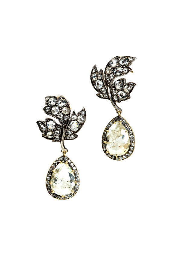 Sylva & Cie 18K Gold & Silver Rough Diamond Leaf Earrings
