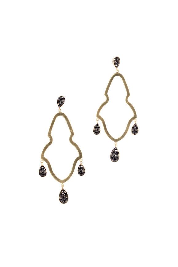 Sylva & Cie 18K Yellow Gold Black Diamond Gypsy Earrings