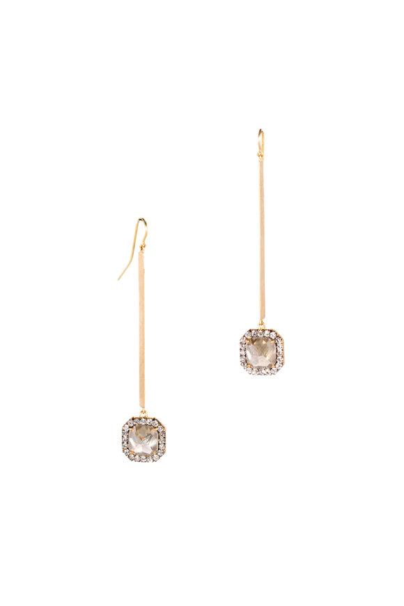 Sylva & Cie 18K Yellow Gold Rough Diamond Stick Earrings