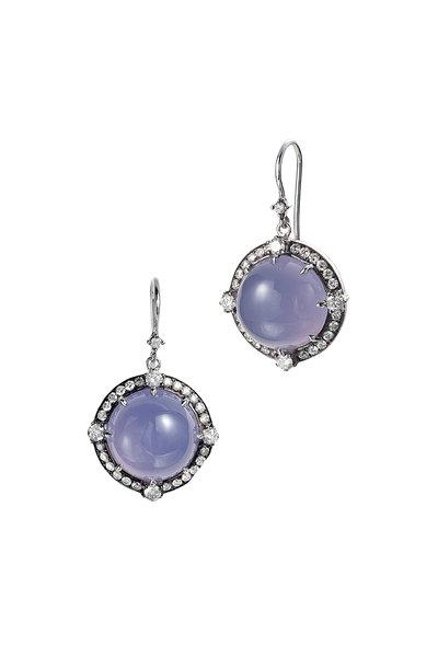 Nam Cho - White Gold Chalcedony Diamond Dangle Earrings