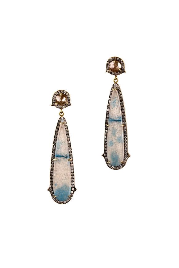 Sylva & Cie 18K Gold & Silver Quartz & Diamond Drop Earrings