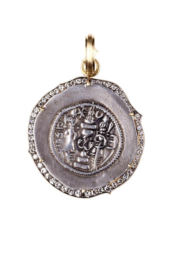 Sylva & Cie 18K Yellow Gold Sassanian Coin Pendant