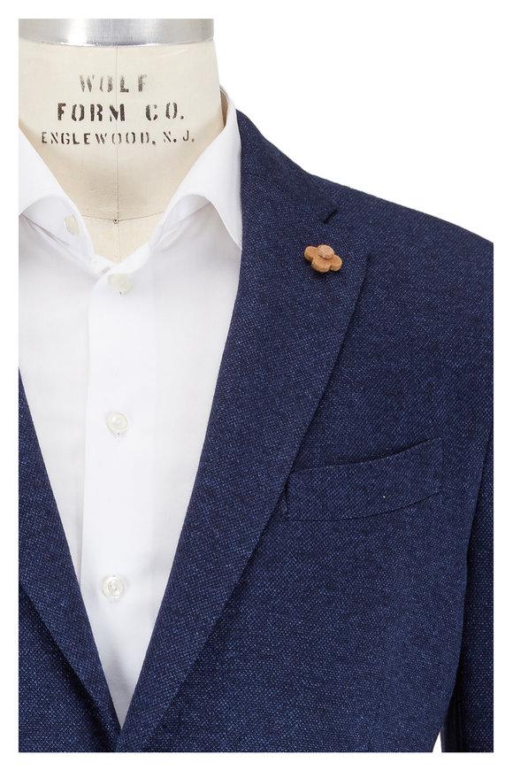 Lardini Navy Blue Silk & Cashmere Sportcoat