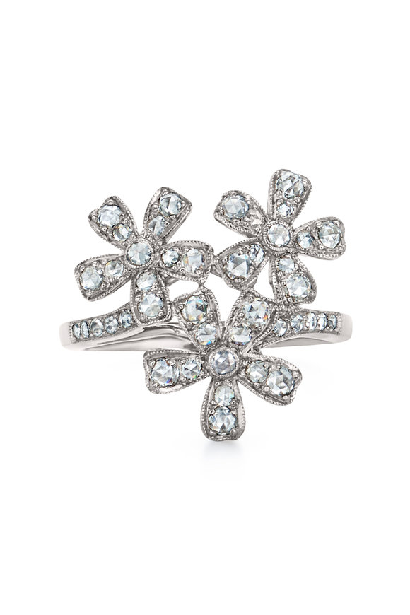 Kwiat 18K White Gold Vintage Flower Ring