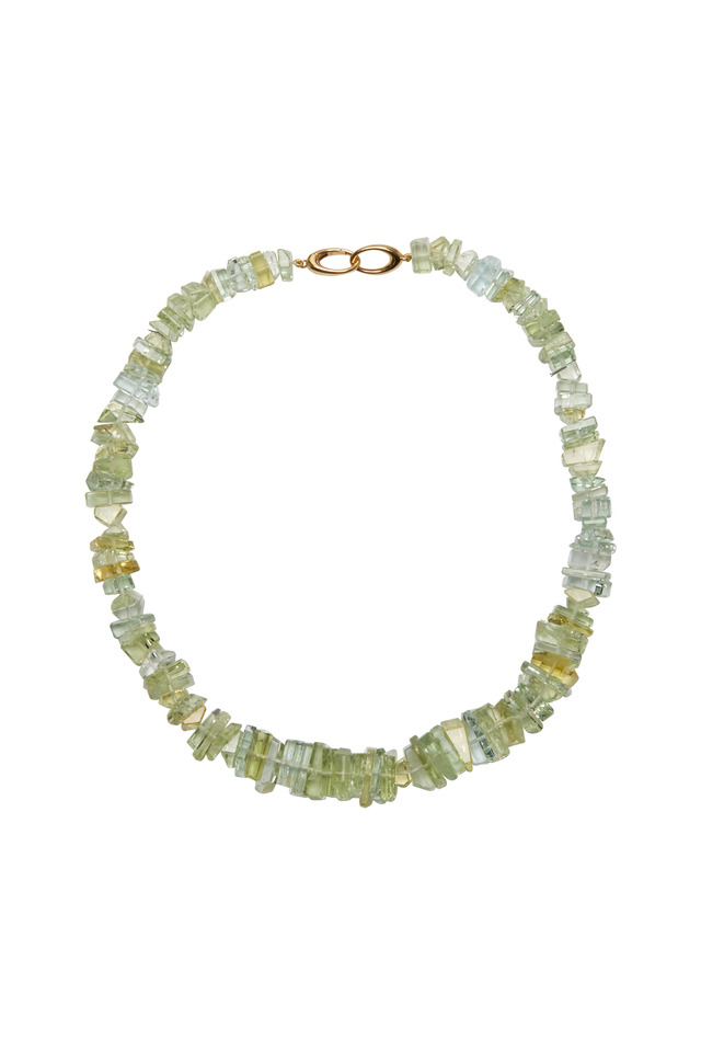 18K Yellow Gold Green Beryl Optique Necklace