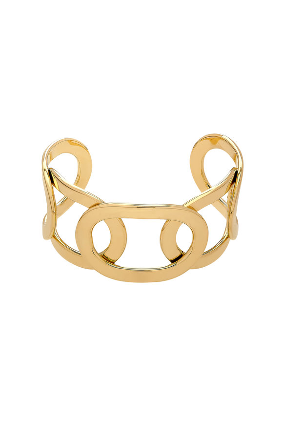 Alberto Milani 18K Yellow Gold Open Oval Cuff