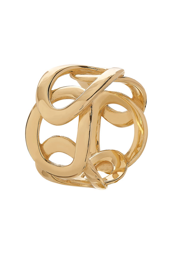 Alberto Milani 18K Yellow Gold Open Oval Cuff Ring