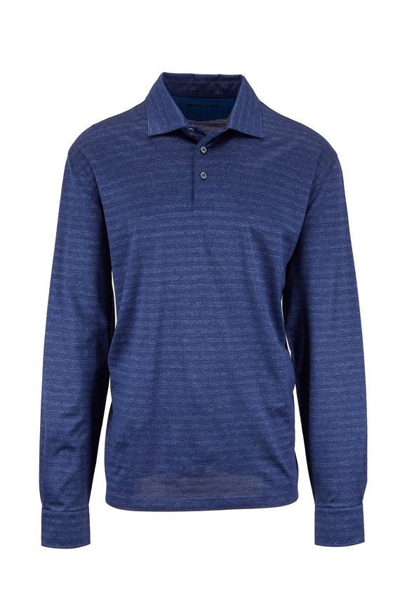 Ermenegildo Zegna Navy Blue Silk & Cotton Long Sleeve Polo